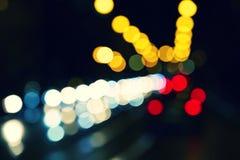夜红绿灯 免版税库存照片