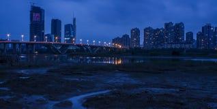 夜美丽的河沿  免版税库存图片