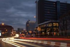 夜街道图和楼3 免版税库存照片