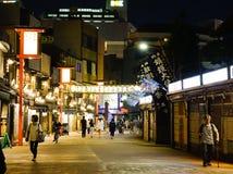 夜街道在东京,日本 免版税库存图片