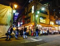 夜街道在东京,日本 免版税图库摄影