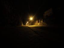 夜街道在利沃夫州 免版税库存图片