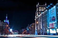 夜街道在哈尔科夫 库存照片