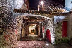 夜街道在老镇里加,拉脱维亚 库存图片