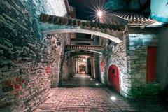 夜街道在老镇里加,拉脱维亚 图库摄影