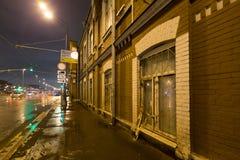 夜街道大厦 图库摄影