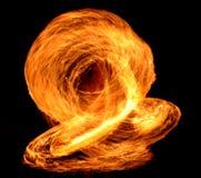 夜表现火展示 免版税库存照片