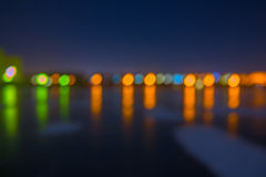 夜被弄脏的城市光 免版税库存图片