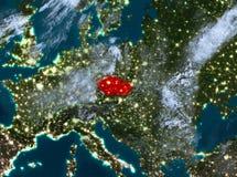 夜观点的捷克共和国 免版税库存图片