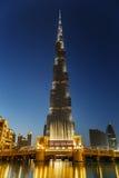 夜观点的Burj哈利法在迪拜,阿拉伯联合酋长国 免版税库存图片