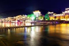 夜视图凤凰牌,湖南,中国 图库摄影