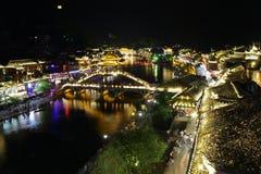 夜视图凤凰牌,湖南,中国 免版税图库摄影