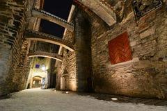 夜视图在冬天 St凯瑟琳` s段落 塔林 爱沙尼亚 免版税库存照片