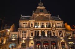 夜视图在市中心在跟特, 2017年11月5日的比利时 免版税库存照片