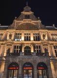 夜视图在市中心在跟特, 2017年11月5日的比利时 库存照片