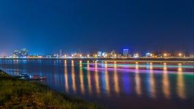 夜视图在金边,柬埔寨 免版税库存照片