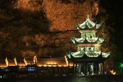 夜视图在贵州瓷的zhenyuan古镇 库存图片