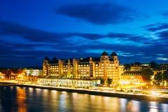 夜视图堤防在市中心在奥斯陆 免版税库存图片