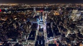 夜视图的纽约从屋顶 股票视频