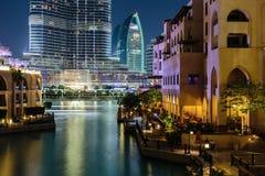 夜视图Bur迪拜 库存照片