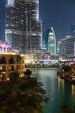 夜视图Bur迪拜 免版税库存图片