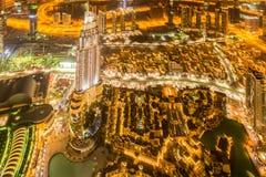 夜迪拜全景在日落期间的 库存图片