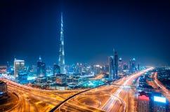 夜迪拜街市地平线,迪拜,阿联酋 库存图片