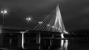 夜都市风景在华沙 库存照片