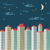 夜都市风景-抽象大厦-导航在平的设计样式的概念例证 房地产平的例证 免版税库存图片