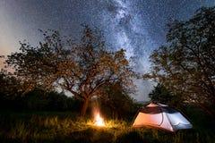 夜野营 在营火附近的旅游帐篷在树和美好的满天星斗的天空和银河下 免版税库存图片