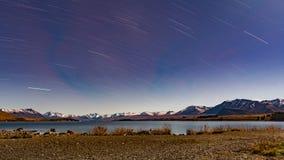 夜长的曝光射击了在湖tekapo 免版税库存图片