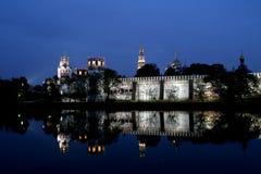 夜间修道院novodevichy的莫斯科 库存照片