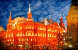 夜间克里姆林宫莫斯科俄国 免版税库存照片