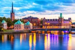 夜间全景风景斯德哥尔摩瑞典 免版税库存照片