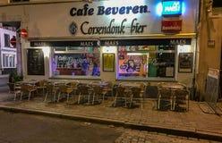 夜间咖啡馆,安特卫普,比利时 库存照片