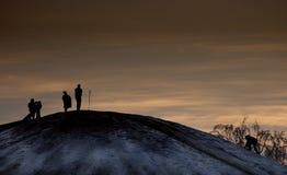 夜间坐雪撬者 库存照片