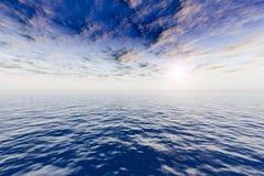 夜间海洋海景天空 免版税库存图片