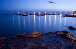 夜间港口 免版税库存照片