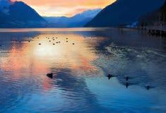 夜间湖瑞士瑞士 图库摄影