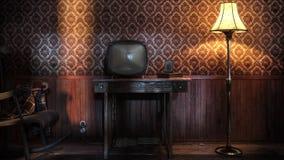 夜间电视葡萄酒 库存照片
