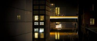 夜间的缆车 库存照片