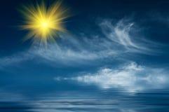 夜间美妙海洋的星期日 图库摄影