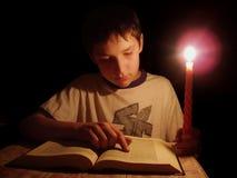 夜间读取 免版税库存图片