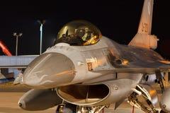 夜间飞行锻炼F-16战隼 图库摄影