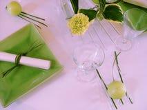 夜间餐位餐具表 免版税库存图片