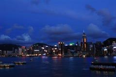 夜间香港视图 免版税图库摄影