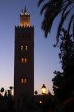 夜间koutoubia马拉喀什清真寺射击 库存照片