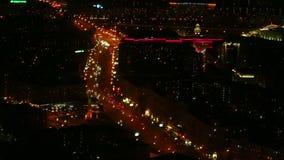 夜顶视图的莫斯科在俄罗斯 股票视频