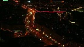 夜顶视图的莫斯科在俄罗斯 股票录像