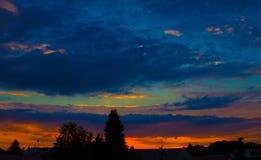 夜风景,以城市和树为背景在日落 自然 免版税库存照片